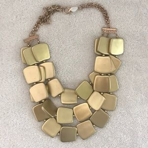 Chunky three strand matte golden necklace